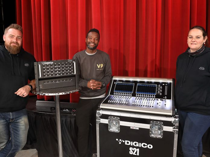 Ventso Productions Puleng Maponyane poses with DWR Distribution DiGiCo S21 console