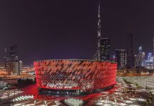 Coca-Cola Arena Dubai with Burj Khalifa in background