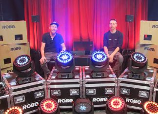 Ruan Nel and Brendan Kaizer from Stage Effects pose with Robe Robin 600 LEDWash fixtures