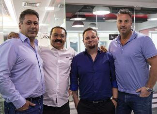 SLS Invests in Robe Elie Battah (GM of Robe Middle East), Martin Luiz (owner and founder of SLS), Darion Garisch (SLS's head of lighting) and Ed Jarman (SLS sales director)